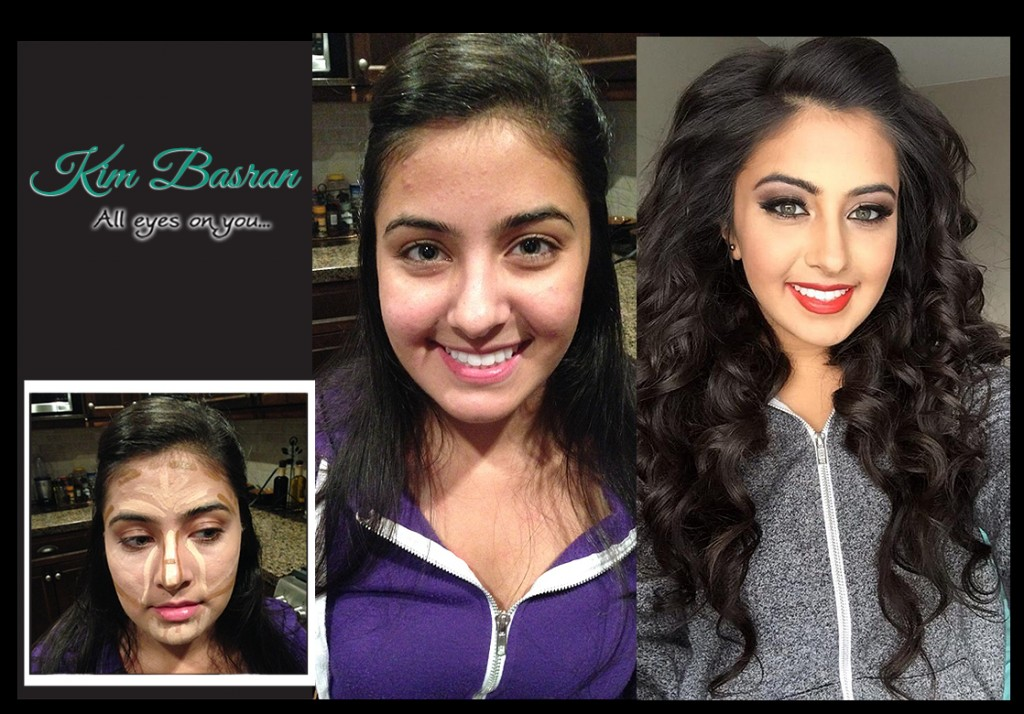 before and after contour makeup by Kim Basran Kristiey